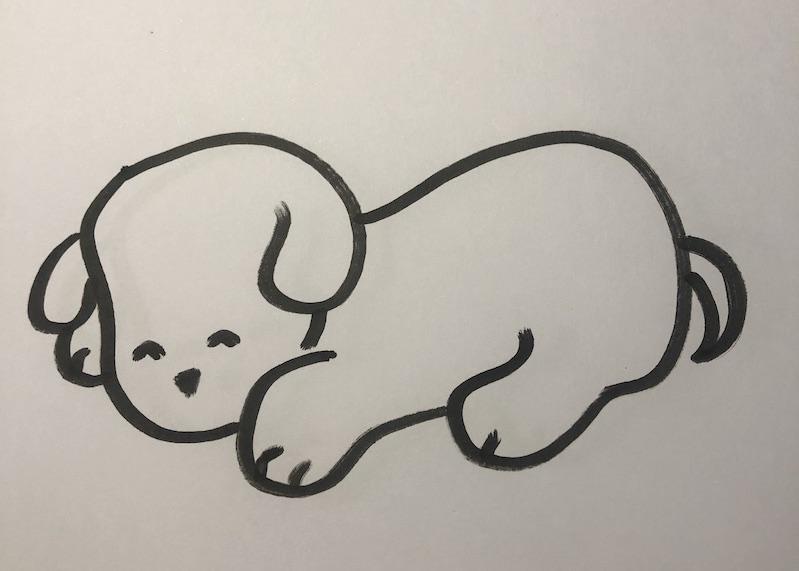 Photo chien dessiné à la main