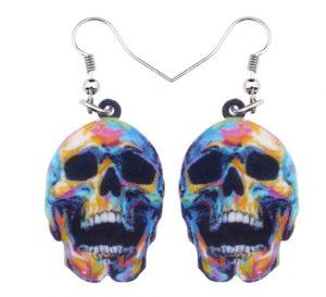 boucle d oreilles halloween tetes de mort